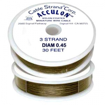 Cavetto Acciaio 7 Fili -Metallic Oro-Diametro-0,45mm