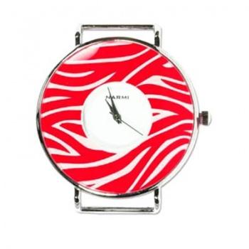 Orologio Tondo Argentato Rosso