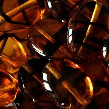 Vetro Ovale con Foro Passante Tartaruga 12mm