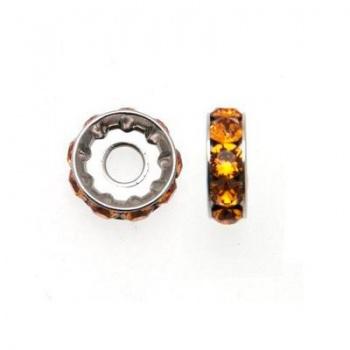 Becharmed Rondella Swarovski Rodio (77512) Topaz 12mm