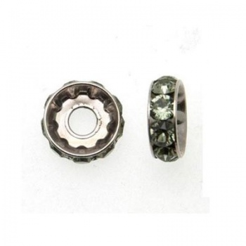 Becharmed Rondella Swarovski Rodio (77512) Black Diamond 12mm