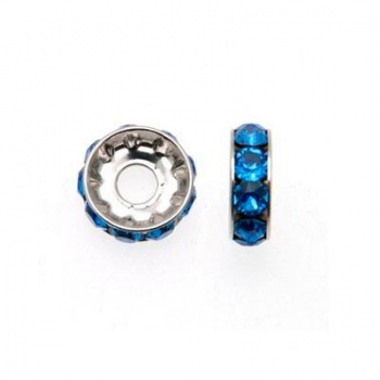 Becharmed Rondella Swarovski Rodio (77512)Sapphire 12mm