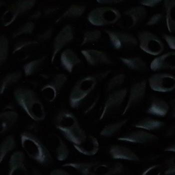 Long Magatama Miyuki 7x4mm Matte Black