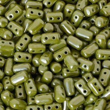 Perline Rulla 3x5mm Opaque Green White Luster