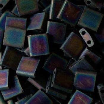 Perline Tila Miyuki Matte Black AB 5mm