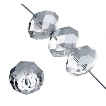 Rondella Cinese Glass 6x4mm Crystal Luster Silver
