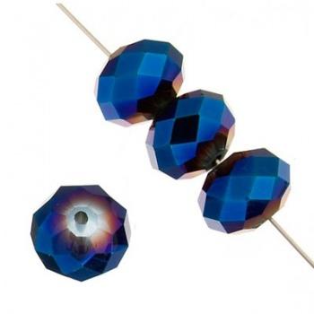 Rondella Cinese Glass 6x4mm Metallic Blue