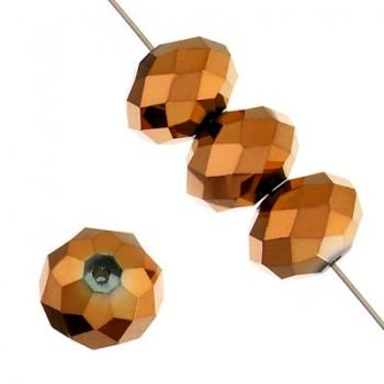 Rondella Cinese Glass 6x4mm Metallic Copper