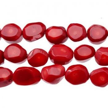Corallo Bambù Rosso Sasso Sfaccettato 15mm