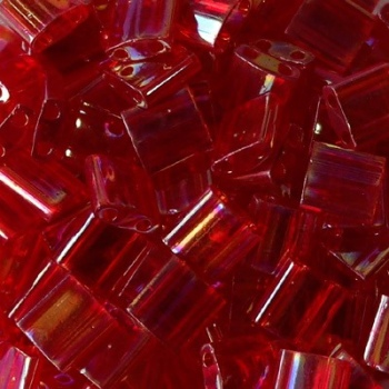 Perline Tila Miyuki Transparent Red AB 5mm