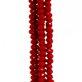 Rondella Cinese Glass 4x3mm Opaque Red