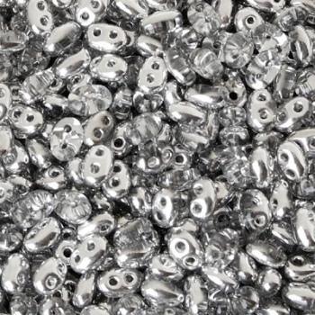 Perline Twin Beads Preciosa 5x2,5mm Metallic Silver