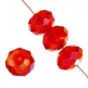 Rondella Cinese Glass 6x4mm Siam Ruby AB