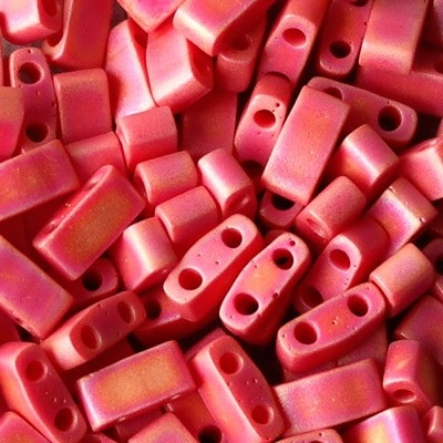 Perline Miyuki Half Tila 5x2,3mm Matte Opaque Red AB