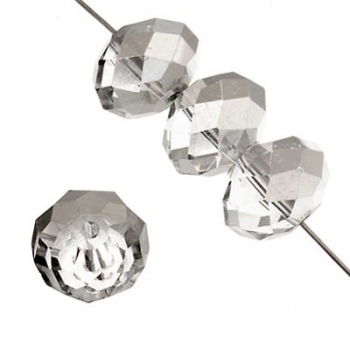 Rondella Cinese Glass 8x6mm Crystal Luster Silver
