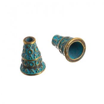 Cono Decorato Martellato Turquoise 10mm