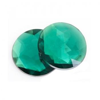 Cabochon Acrilico Tondo Sfaccettato Emerald Green 18mm