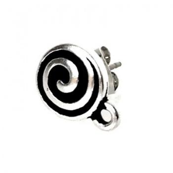 Orecchino Perno con Spirale Argentato Anticato 10mm