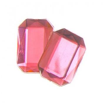 Cabochon Ottagono Acrilico Sfaccettato Hot Pink 18x13mm
