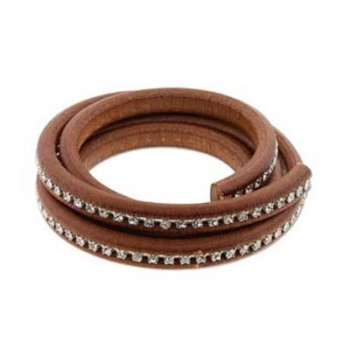 Cuoio Regaliz Brown Con Strass Crystal 10x7mm