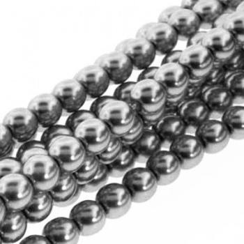 Perla Cerata Vetro Tondo Liscio Silver 4mm (Filo 120 pz )
