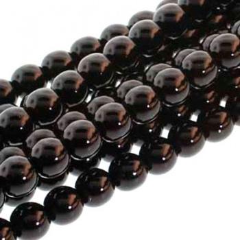 Perla Cerata Vetro Tondo Liscio Black 6mm (Filo 75 pz )