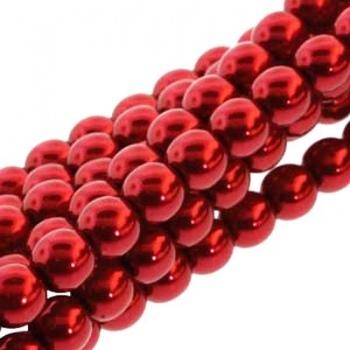 Perla Cerata Vetro Tondo Liscio Max Red 6mm (Filo 75 pz )