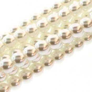Perla Cerata Vetro Tondo Liscio White 8mm (Filo 75 pz )