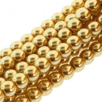 Perla Cerata Vetro Tondo Liscio Gold 8mm (Filo 75 pz )