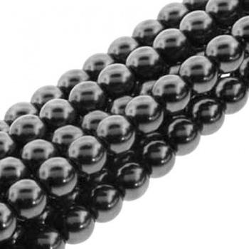 Perla Cerata Vetro Tondo Liscio Hematite 8mm (Filo 75 pz )