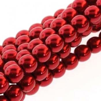 Perla Cerata Vetro Tondo Liscio Max Red 8mm (Filo 75 pz )