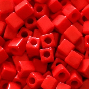 Perline Cubi Miyuki 4mm Square Opaque Red