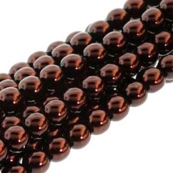 Perla Cerata Vetro Tondo Liscio Bronze 4mm (Filo 120 PZ)