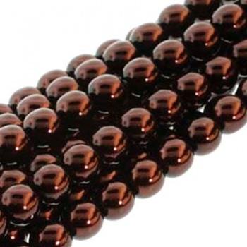Perla Cerata Vetro Tondo Liscio Bronze 6mm (Filo 75 PZ)