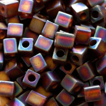 perline Cubi Miyuki 4mm Square Transparent Rainbow Dark