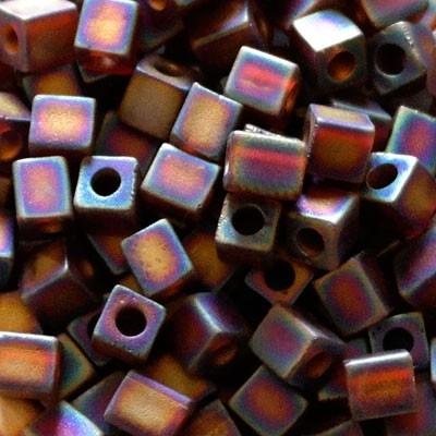 perline Cubi Miyuki 4mm Square Transparent Rainbow Dark
