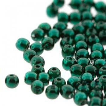 Perla Cerata Vetro Tondo Liscio Deep Emerald 2mm (Filo 150 PZ)