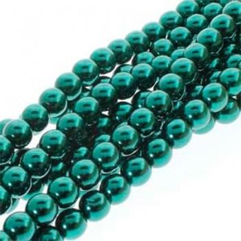 Perla Cerata Vetro Tondo Liscio Deep Emerald 4mm (Filo 120 PZ)