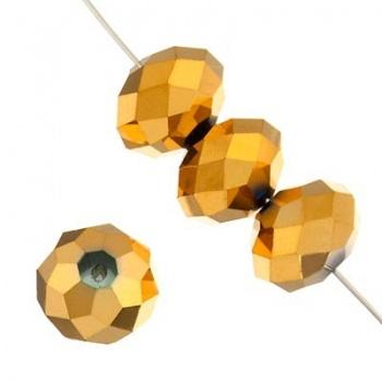 Rondella Cinese Glass 8x6mm Metallic Gold