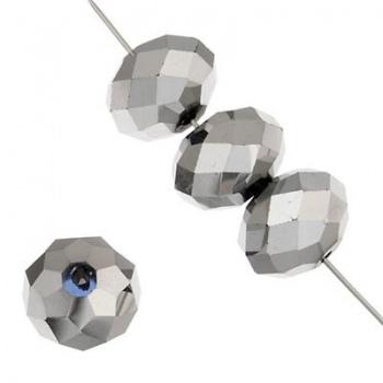 Rondella Cinese Glass 8x6mm Metallic Silver