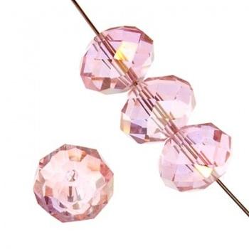 Rondella Cinese Glass 6x4mm Pink AB