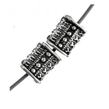 Distanziatore Rettangolo In Plastica Bagnato-Argento 925-6x4mm