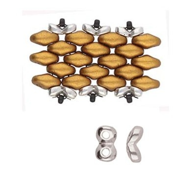 Kaparia-Terminale Per perline Superduo-Argentato Anticato 5x2mm