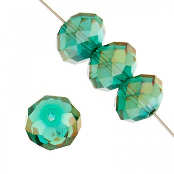 Rondella Cinese Glass 6x4mm Teal AB