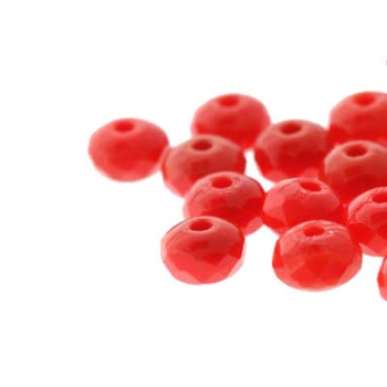 Fire Polish Donut Opaque Red 5x3mm