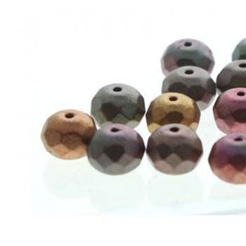 Fire Polish Donut Violet Rainbown 7x4mm