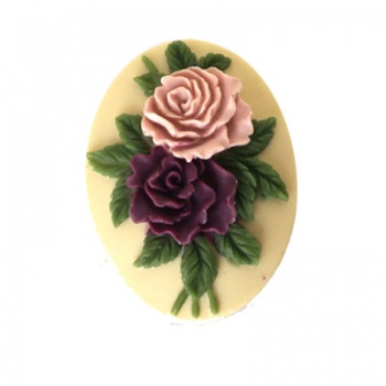 Cammeo Resina Colorful Roses And Ivory 25x18mm