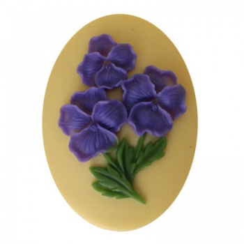 Cammeo Resina Purple Flower And Ivory 40x30mm