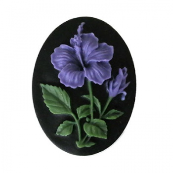 Cammeo Resina Colorful Fiore And Black 40x30mm