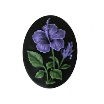 Cammeo Resina Colorful Fiore And Black 25x18mm